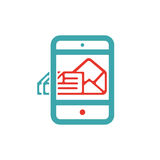 Document file mail icon on tablet laptop vector illustration Royalty Free Stock Photography