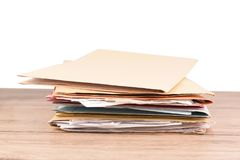 Document. File placed on the desk on isolated background and clipping path Royalty Free Stock Images