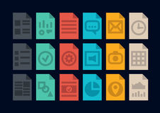 Document file types icons. Collection of colorful vector icons in modern flat design style of various program file or document type version. Isolated on black Royalty Free Stock Photography