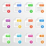 Document files. Icon set. Download file formats - pdf, doc, xls, ppt, rar, zip, html, txt, jpg, png, svg, ai. Vector. Document files. Icon set. Download file Royalty Free Stock Photo