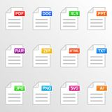 Document files. Icon set. File formats - pdf, doc, xls, ppt, rar, zip, html, txt, jpg, png, svg, ai. Vector. Document files. Icon set. File formats - pdf, doc Stock Images