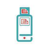 Document files icon on smartphone screen vector illustration. Royalty Free Stock Images