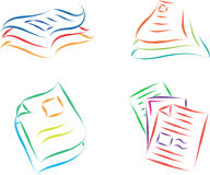 Document files. Paper color illustration Stock Photography