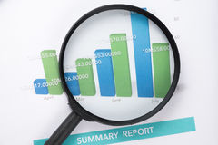 Document financial with magnifying glass Stock Photography