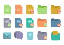 Document flat icons Stock Photo