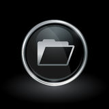 Document folder icon inside round silver and black emblem. Document symbol with folder icon inside round chrome silver and black button emblem on black Stock Image