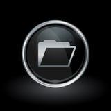 Document folder icon inside round silver and black emblem Stock Image