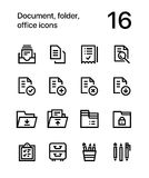 Document, folder, office icons for web and mobile design pack 1. 16 line black and white vector icons Royalty Free Stock Photography