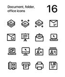 Document, folder, office icons for web and mobile design pack 4 Royalty Free Stock Images