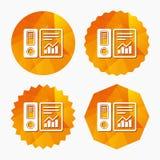 Document folder sign. Accounting binder symbol. Stock Photos