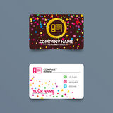 Document folder sign. Accounting binder symbol. Business card template with confetti pieces. Document folder sign. Accounting binder symbol. Bookkeeping Royalty Free Stock Images