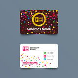 Document folder sign. Accounting binder symbol. Business card template with confetti pieces. Document folder sign. Accounting binder symbol. Bookkeeping Royalty Free Stock Photos