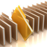 Document folders. With one golden folder Stock Image