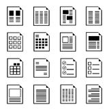 Document form icons. Set of 16 document form templates, document icons Royalty Free Stock Photography
