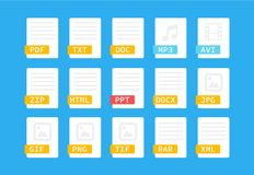 Document format. Flat style icon set. Programming file type, extension. Pictogram. Web and multimedia. Computer. Technology. Vector illustration on background Royalty Free Stock Images