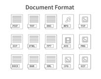 Document format. Flat style icon set. Programming file type, extension. Pictogram. Web and multimedia. Computer. Technology. Vector illustration on background Royalty Free Stock Photography