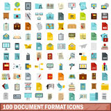 100 document format icons set, flat style. 100 document format icons set in flat style for any design vector illustration Stock Photo