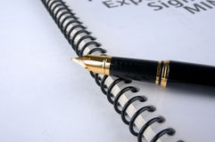 Document and fountain pen. Means study, learn, record, working, plan, sign and writing Stock Images