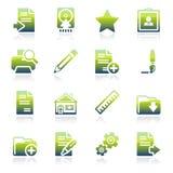 Document groene pictogrammen Stock Foto