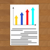 Document with growth arrow graphic. Infographic analysis info, vector data graph illustration Stock Photography