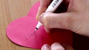 Document hart voor mijn liefde stock videobeelden