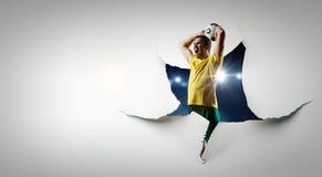 Document het effect en de voetballer van het doorbraakgat Gemengde media stock foto's