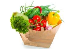 Document het hoogtepunt van de zakrand van gezond voedsel stock fotografie