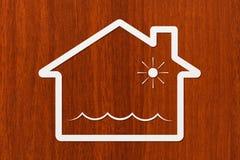 Document het huis met water binnen golven, vat conceptueel beeld samen stock afbeelding