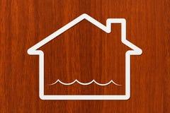 Document het huis met water binnen golven, vat conceptueel beeld samen royalty-vrije stock afbeeldingen