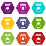 Document het pictogram vastgestelde kleur van de koffiekop hexahedron Royalty-vrije Stock Afbeelding