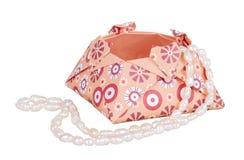 Document het Vakje van de Origamiliefde met een parelhalsband, giftvakje Royalty-vrije Stock Afbeelding
