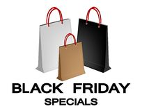 Document het Winkelen Zakken voor Speciaal Black Friday Royalty-vrije Stock Afbeelding