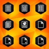 Document. Hexagonale pictogrammen die op abstracte sinaasappel terug worden geplaatst Stock Fotografie