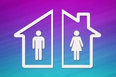 Document huis met binnen de mens en vrouw Scheidingsconcept Stock Foto's