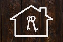 Document huis met binnen sleutels Abstract conceptueel beeld Stock Foto's