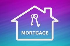 Document huis met binnen sleutels en hypotheektekst Conceptueel beeld vector illustratie