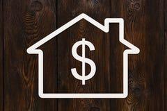 Document huis met dollar binnen teken Abstract conceptueel beeld Stock Afbeeldingen