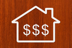 Document huis met dollars binnen teken Abstract conceptueel beeld Stock Afbeeldingen
