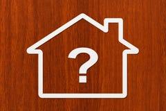 Document huis met vraag binnen teken Abstract conceptueel beeld Stock Foto