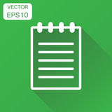 Document icon. Business concept document note pictogram. Vector. Illustration on green background with long shadow Stock Image