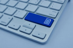 Document icon on modern computer keyboard button, Network concep Royalty Free Stock Images