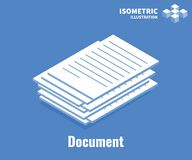 Document icon. Pile of documents, stack of business paper. Vector 3D illustration isolated on blue background. stock illustration