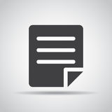 Document icon with shadow on a gray background. Vector illustration. Document  icon with shadow on a gray background. Vector illustration Royalty Free Stock Photos