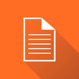 Document icon vector flat illustration. Documents symbol. Paper page graphic design pictogram on orange background with shadow Stock Photography