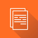 Document icon vector flat illustration. Documents symbol. Paper page graphic design pictogram on orange background with shadow Royalty Free Stock Images
