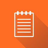 Document icon vector flat illustration. Isolated documents symbo. L. Paper page graphic design pictogram on orange background with shadow Royalty Free Stock Image