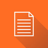 Document icon vector flat illustration. Isolated documents symbol. Paper page graphic design pictogram on orange background with shadow Stock Photo