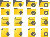 Document icons. Document folder icon set, with different statuses Stock Image