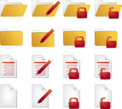 Document icons. Document folder icon set, with different statuses Royalty Free Stock Photos