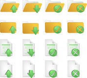 Document icons. Document folder icon set, with different operations Stock Images